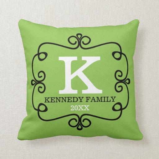Lemon Green Throw Pillow : Family Name Monogrammed Lime Green Throw Pillow Zazzle
