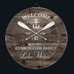 "Family Name | Oars and Anchor Custom Dart Board<br><div class=""desc"">Fun ""welcome to the lake house"" personalized dart board.  Change the name,  the year and the name of your vacation getaway (beach house,  cottage,  summer house,  etc.) to make this a wonderfully unique gift.</div>"