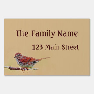Family Name Red Bird Lawn Sign