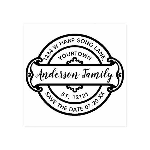 Family Name Return Address  Elegant Save the Date Rubber Stamp