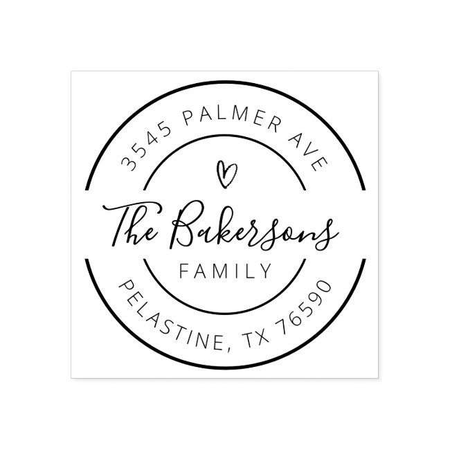 Family Name Return Address round logo Self-inking Rubber Stamp