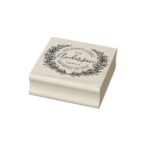 Family Name Round Hand_drawn Wreath Address Rubber Stamp