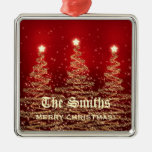 Family Name Sparkling Christmas Trees Red Metal Ornament