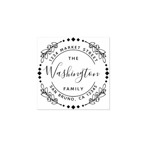 Family Name  Stylish Floral Round Return Address Rubber Stamp