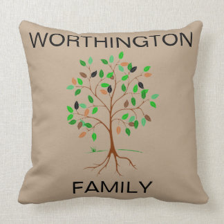 Family Name Tree - Customizable Throw Pillow