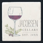 "Family Name Wine Cellars Stone Coaster<br><div class=""desc"">Upgrade your vino experience with these personalized name coasters featuring a watercolor illustration of a glass of red wine with olive branches and grapes. Personalize with family name and year established. Great gift for wine lovers,  newlyweds or new homeowners!</div>"
