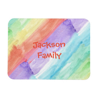 Family Name with Watercolor Pattern Magnet