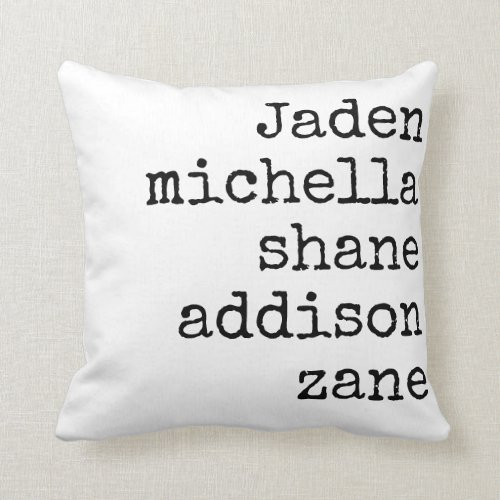 FAMILY NAMES MOTHER'S DAY PILLOW GIFT