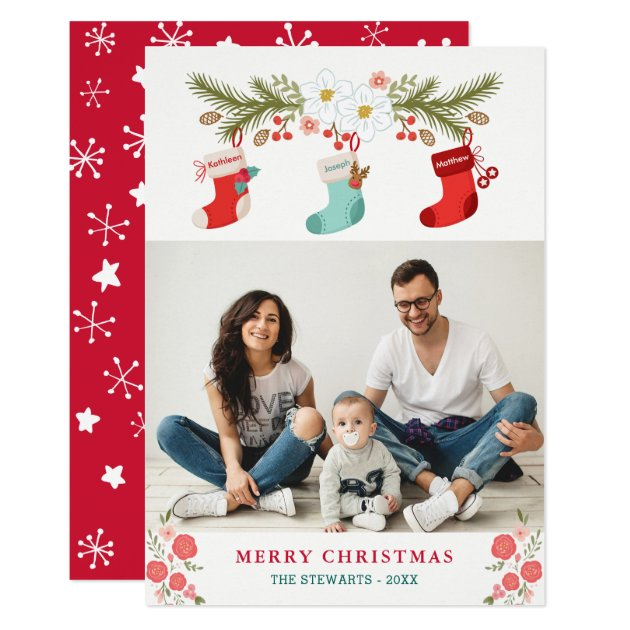 Family Names on Christmas Stockings with Photo Card