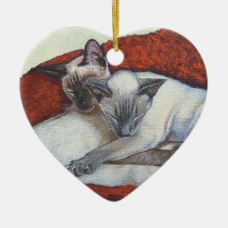 Family Nap Siamese Cat Painting Art Ceramic Ornament