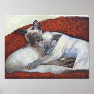 """Family Nap"" Simaese Cat Art poster"