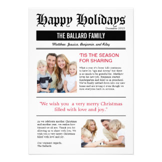 Family News Holiday Photo Cards Personalized Announcements