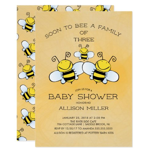 Family of 3 Bee Baby Shower Invitation