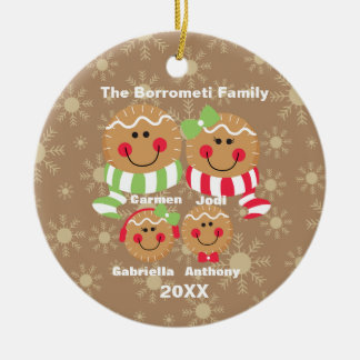 Family of 4 Gingerbread Faces Christmas Ornament