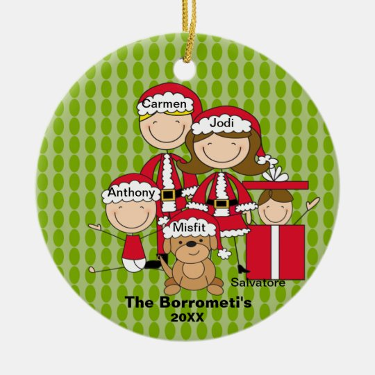 Family of 4 with Dog Christmas Ornament