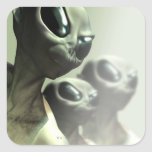 Family of aliens huddled together. square sticker