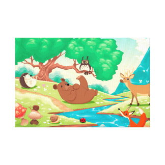 Family of animals in the wood. canvas print