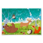 Family of animals in the wood. poster