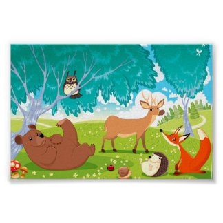 Family of animals in the wood print