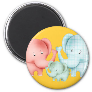 Family Of Elephants Mom Dad And Baby 2 Inch Round Magnet