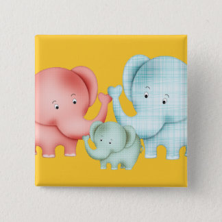 Family Of Elephants Mom Dad And Baby Button