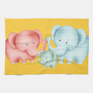 Family Of Elephants Mom Dad And Baby Kitchen Towel