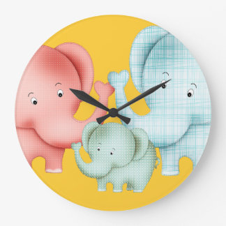 Family Of Elephants Mom Dad And Baby Large Clock