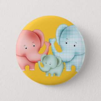 Family Of Elephants Mom Dad And Baby Pinback Button