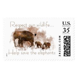 FAMILY OF ELEPHANTS POSTAGE