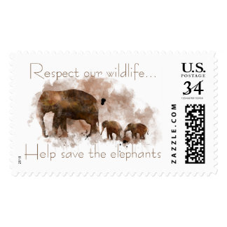 FAMILY OF ELEPHANTS STAMP