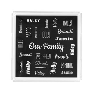 Family of Five In Cool Fonts Acrylic Tray