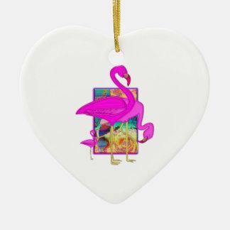 Family of Flamingos Double-Sided Heart Ceramic Christmas Ornament