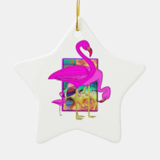Family of Flamingos Double-Sided Star Ceramic Christmas Ornament
