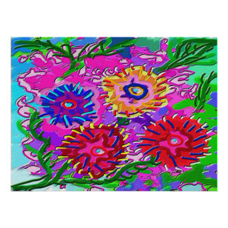 Family of flowers - Fantasy Foral Patterns Poster