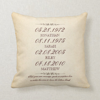 Family of Four Important Events Commemorative Throw Pillow