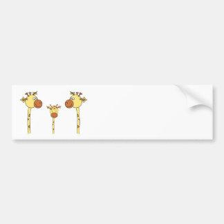 Family of Giraffes. Cartoon. Bumper Sticker