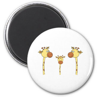 Family of Giraffes. Cartoon. 2 Inch Round Magnet