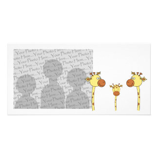 Family of Giraffes. Cartoon. Picture Card