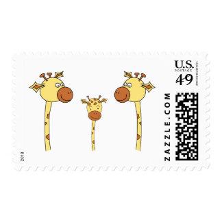 Family of Giraffes Cartoon Stamp