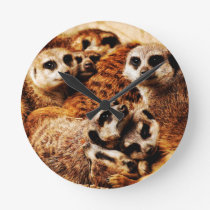 Family of Meerkats Round Clock