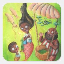artsprojekt, mermaid, mother, sea weed, ice cream, mermaid family, old sailor, pirate, squid, underwater, ice cream stand, children illustration, illustration mermaid, Sticker with custom graphic design