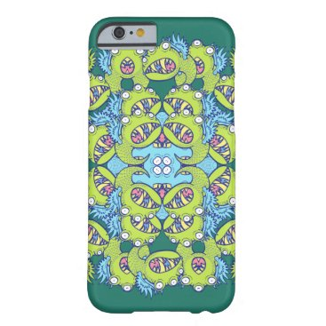 Family of monsters posing for a mandala design barely there iPhone 6 case