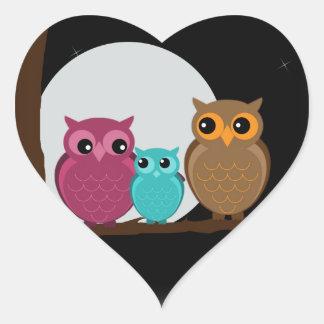Family of Owls Heart Sticker