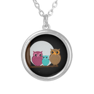 Family of Owls Round Pendant Necklace