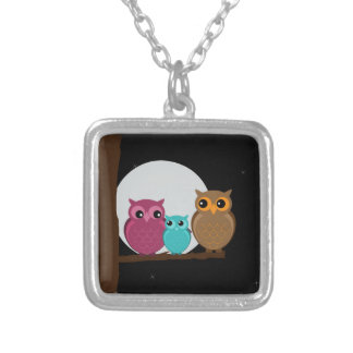 Family of Owls Square Pendant Necklace