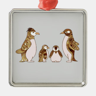 Family of Penguins Metal Ornament