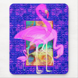 Family of Pink Flamingos Shells and Hibiscus Art Mouse Pad