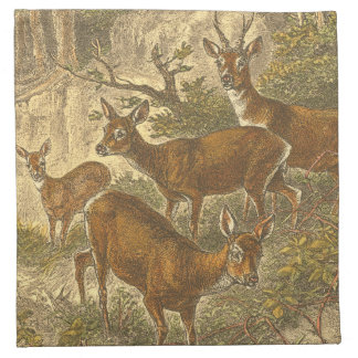 Family of Roe - Deers in a Forest Cloth Napkin