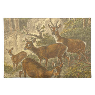 Family of Roe - Deers in a Forest Cloth Placemat