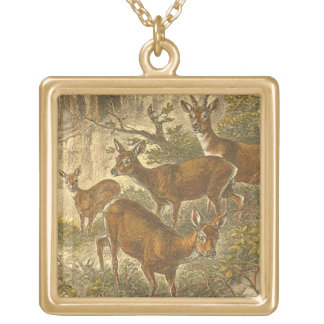 Family of Roe - Deers in a Forest Gold Plated Necklace